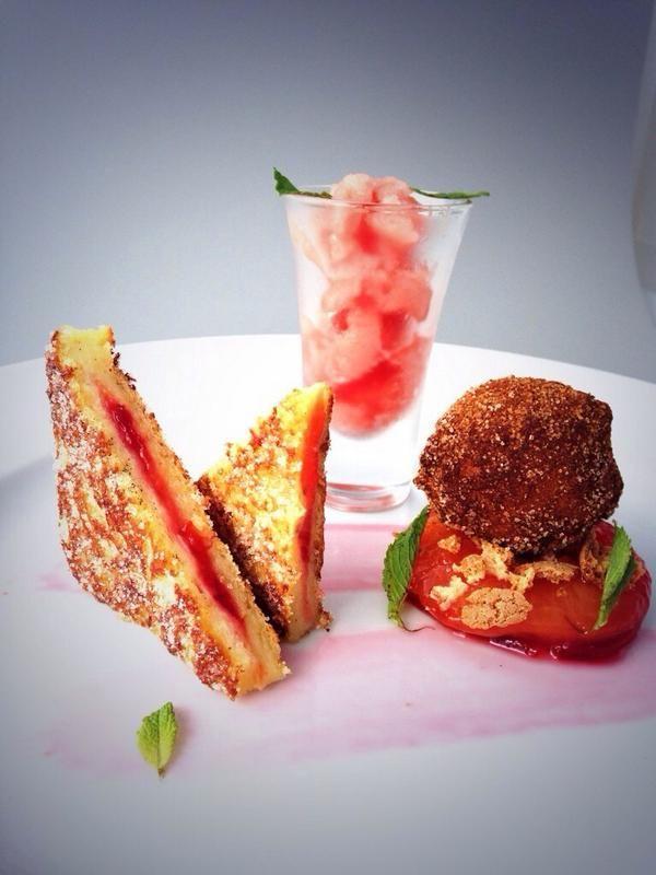 ... cinnamon,toasted plum jam sandwich,brioche doughnut,watermelon granita