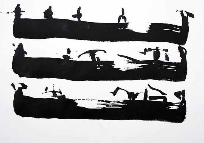 Grzegorz Winkler, Długie Łodzie Plemienia Dimbu 59 x 41 tusz na papierze 2012