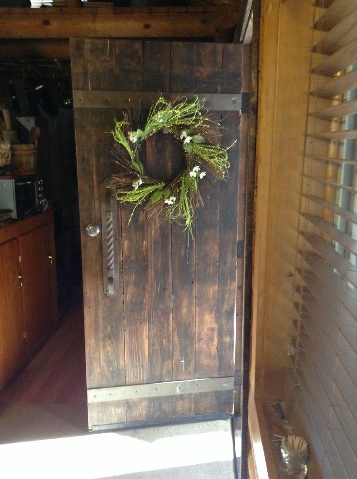 Rustic front door log cabin pinterest for Rustic exterior doors