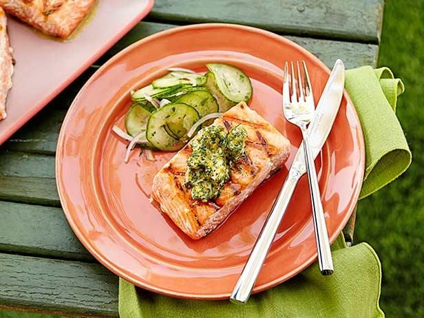 ... Dinners, GRILLED SALMON WITH HERB AND MEYER LEMON COMPOUND BUTTER