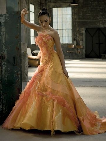 Wedding dress fantasy yellow wedding dress available in every color