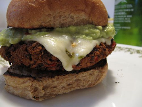 black bean burger! with guacamole and melting pepper jack cheese!