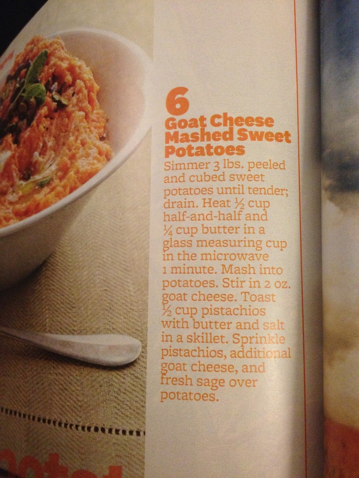Goat cheese mashed sweet potatoes | Recipes to Try | Pinterest