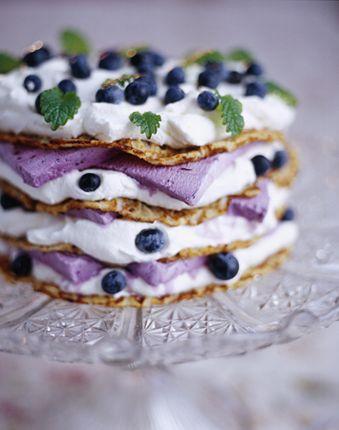 Blueberry ice cream, crepe layer cake