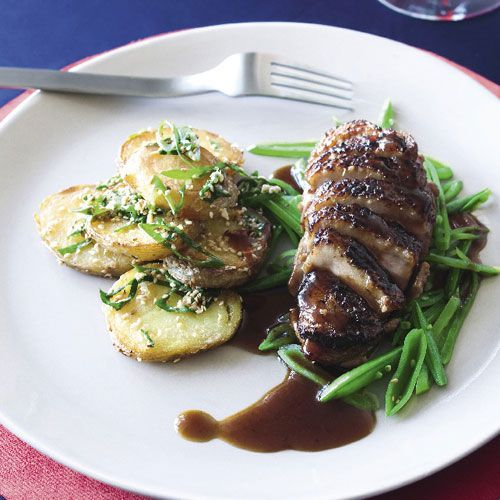 Miso duck breasts with pomegranate glaze & ginger & sesame potatoes