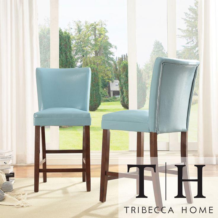 TRIBECCA HOME Estonia Sky Blue Upholstered Counter Stools