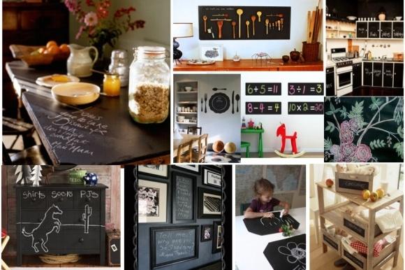 """As bonitas e decorativas lousas que estavam renascendo apenas nas paredes de cafeterias, lojas e restaurantes finos e """"descolados"""", agora começam a ser vistas nas salas, quartos e vários ambientes sociais das residências modernas como um espaço criativo de decoração dinâmico e em constante mudança.    E, com a chegada das """"tintas-lousas"""", a diversidade de usos critivos e decorativos cresceu mais ainda http://ow.ly/9jO5a"""