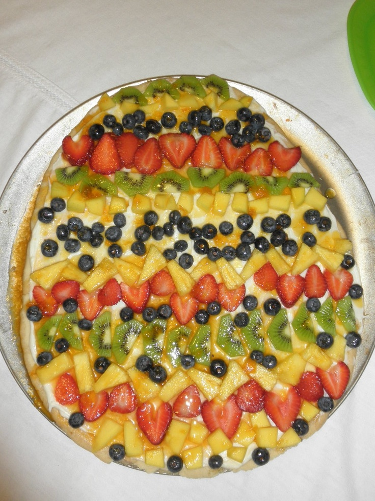 Sugar cookie pizza with fresh fruit (Easter egg themed for Easter!)