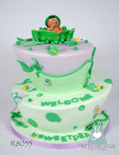 R8055-purple-green-peapod-baby-shower-cake-toronto-oakville by www ...