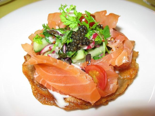 ... Hermé: Potato latkes with smoked salmon, caviar and creme fraiche