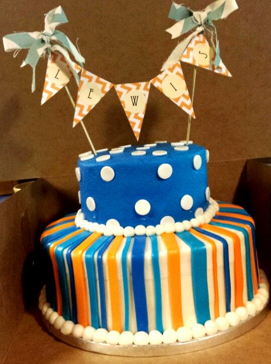 Baby Shower Cake with Handmade Banner. By Brown Egg Bakery OkC