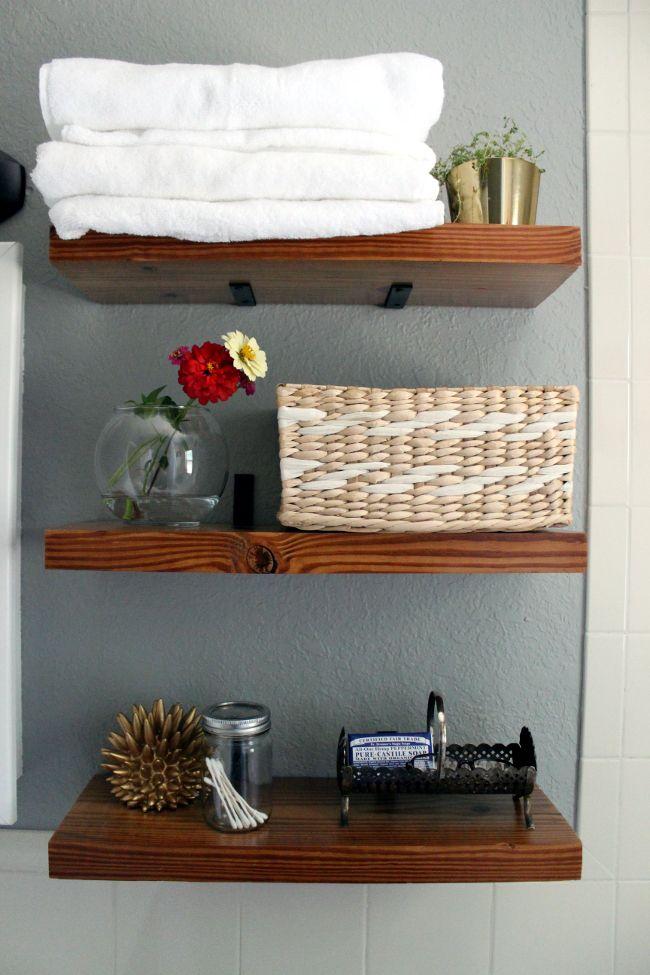 Diy bathroom shelves with l brackets dyi pinterest for Diy shelves pinterest