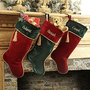 "These stockings are GORGEOUS! I love how elegant the velvet material looks! They're the ""Velvet Splendor"" Personalized Christmas Stockings that you can have embroidered with any name for free! I just love how stunning the gold details look on the red and green in these stockings!!!"