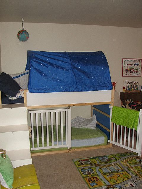 Ikea Aneboda Queen Bed Frame ~   Ikea kids loft bed, recycled crib rails underneath It's a bunk crib