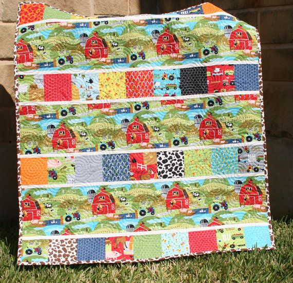 Farm Quilt Baby Boy Blanket Tractor Oink a Doodle Moo
