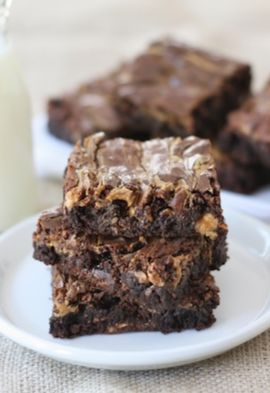 Peanut Butter Snickers Brownies Recipe on twopeasandtheirpod.com ...