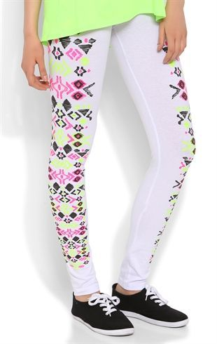 Deb Shops #Legging with Neon Tribal Sides $12.00