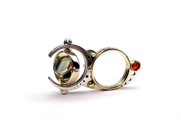 Claudio Pino - Interactive Mirror 14k Gold, 925 Silver, mirror, pearls, opals. 2012