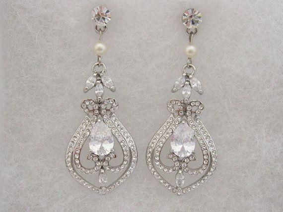 Swarovski pearl earringcrystal bridal earringwedding by Amoretto, $42.00