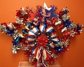 """""""Free Shipping"""" OOAK Vintage Inspired 4th of July Patriotic Wreath ... $34.99 via Designs by HaileyHarrison on Etsy."""