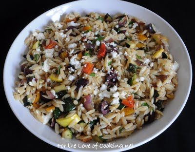Mediterranean Orzo Salad with Grilled Vegetables.