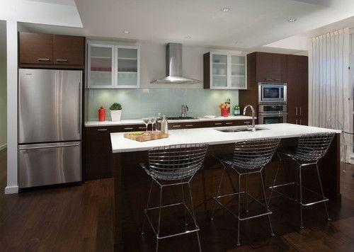 minty green solid glass backsplash modern kitchen by stoney creek