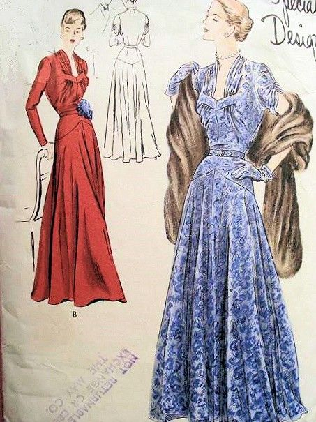 1940s EVENING GOWN PATTERN BEAUTIFUL GATHERED BODICE VOGUE SPECIAL DESIGN 4917