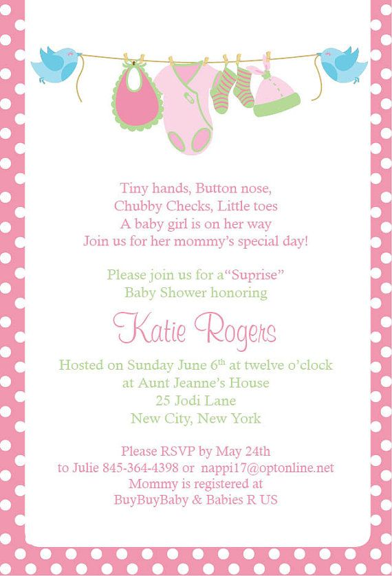 girl baby shower invitation thank yous by danarosedesigns