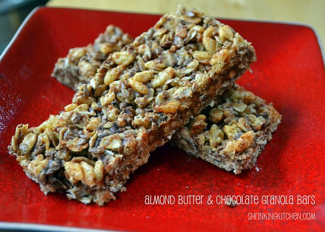 Almond Butter & Chocolate Granola Bars. Also made with coconut ...