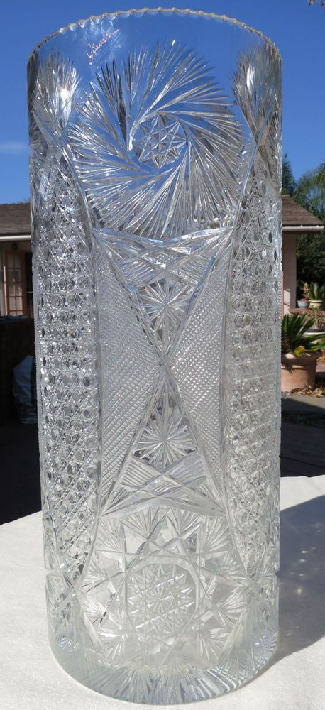 Very Large Designer Cut Crystal Vase 20 Quot Tall Cylinder Shape