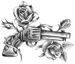 Rose And Gun Thigh Tattoo