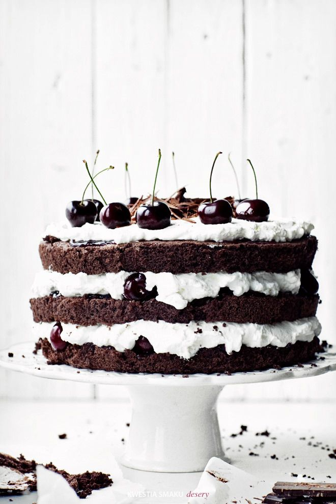 Black Forest Cake: cocoa with cherries and whipped cream