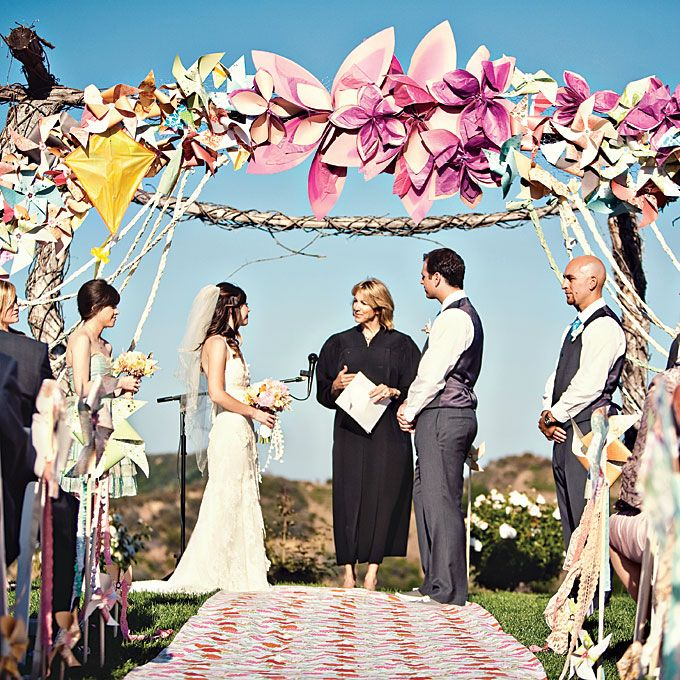 Wedding Ceremony Decorations - Paper Flowers and Pinwheels