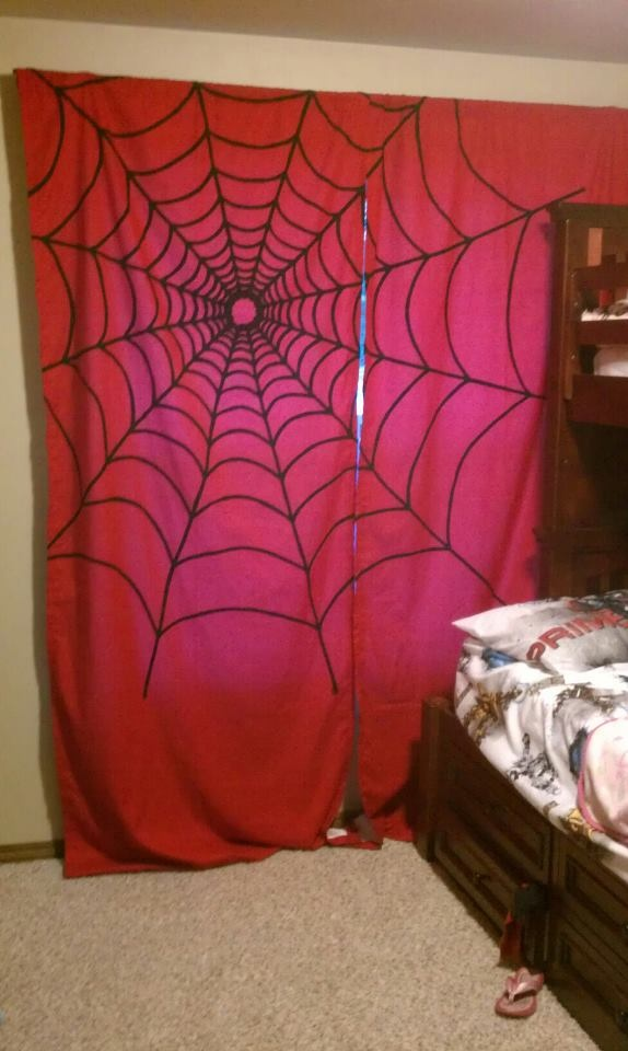 Spider Mans Bedroom : Spider web curtains for my sons Spider-Man themed bedroom.