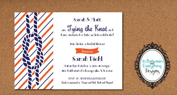 Tying the Knot DIY Printable Nautical Bridal Shower Invitation