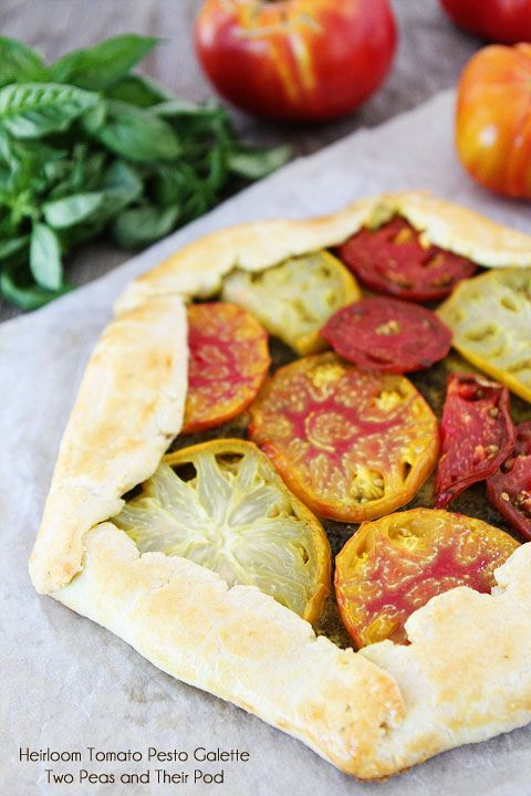 Heirloom Tomato Pesto Galette Recipe on twopeasandtheirpod.com Love ...