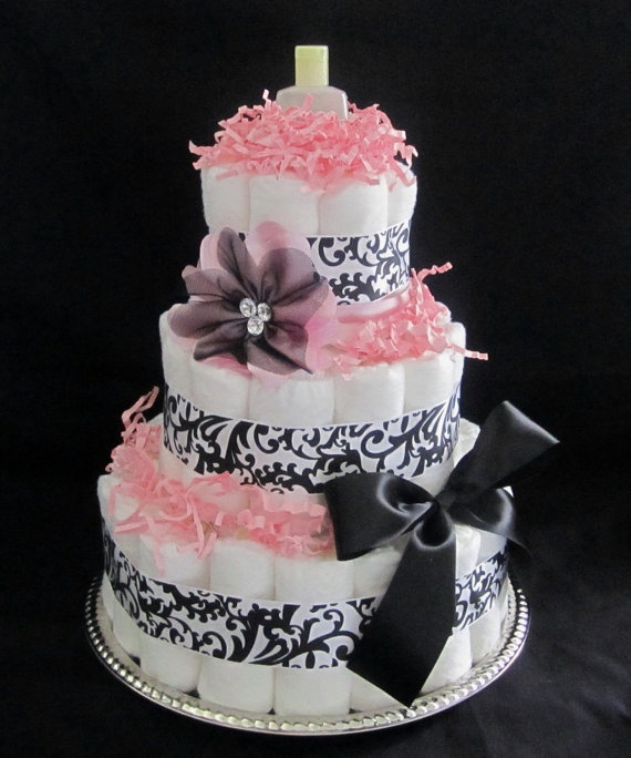 elegant 3 tier baby girl diaper cake by mommynmediapercakes