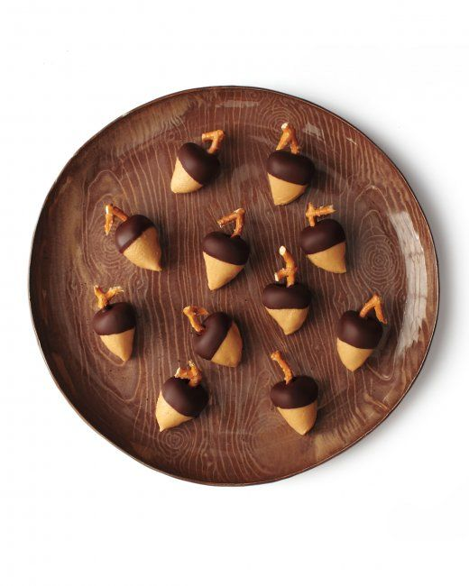 Chocolate-Peanut Butter Acorns - A twist on buckeye candies - Martha ...