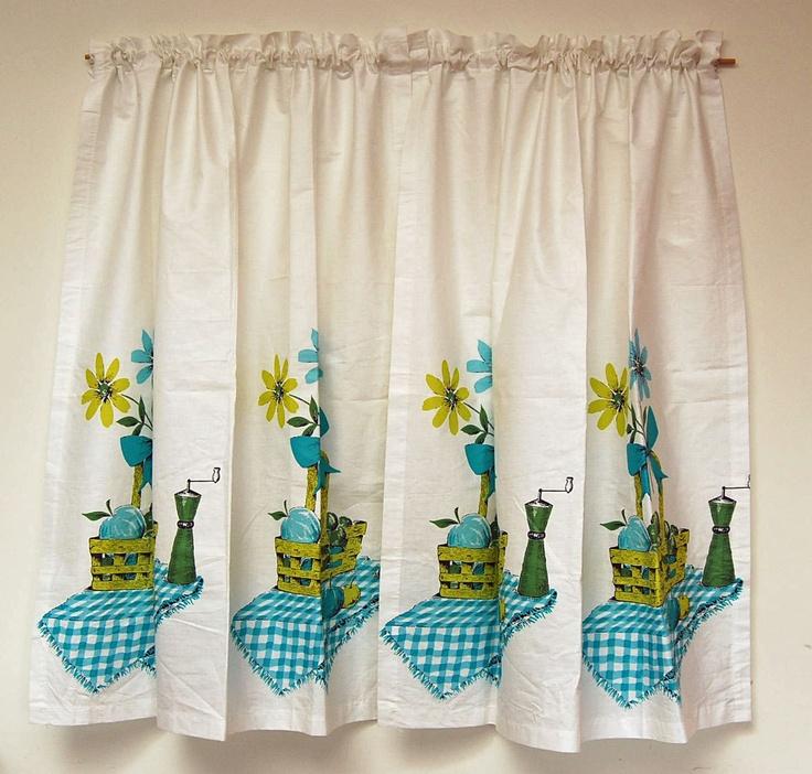 Retro Kitchen Curtains : 60s Kitchen Curtains. Mid-Century Mod. Retro. Pristine. Cotton