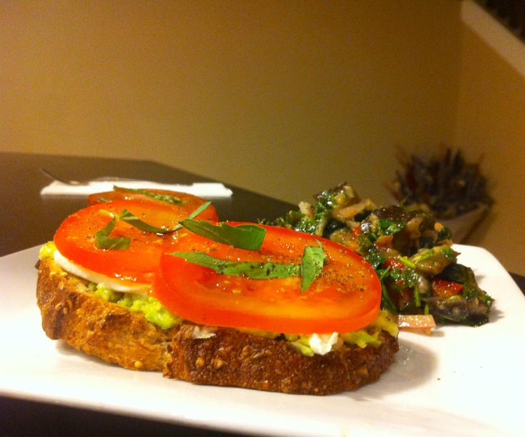 ... with balsamic vinegar and basil. Served with marinated eggplant salad