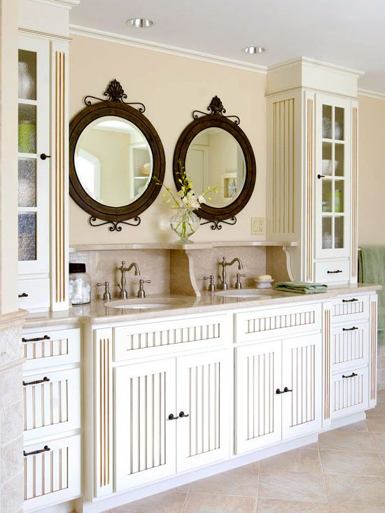 DIY.. Beaded-Board Vanities  Beaded board is fundamental to cottage style, and it outfits both vanities in this attic bath.