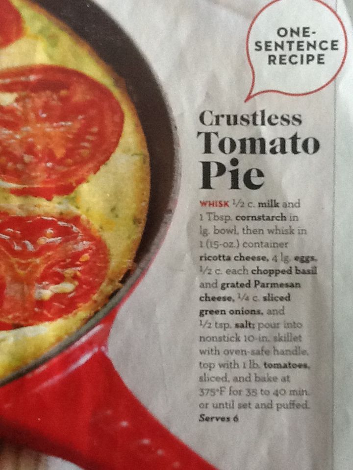 Crustless tomato pie. I made with zucchini instead of tomatoes.