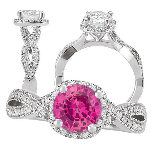 Created 6 5mm round pink sapphire engagement ring with diamond halo