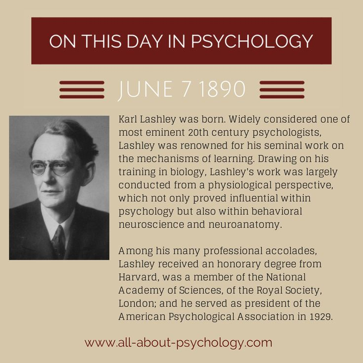 karl lashley psychology Karl s lashley (1890–1958), born in davis, west virginia, was an american psychologist and behaviorist well-remembered for his influential contributions to the.