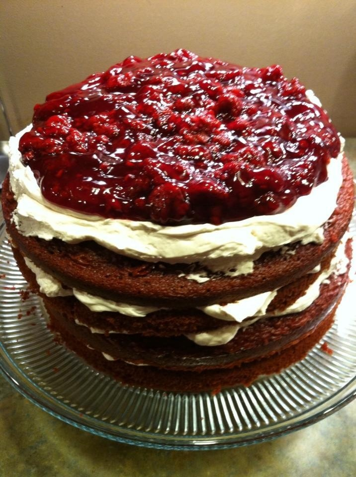 Four-Layer Cake With Raspberry Whipped Cream & Mixed Berries Recipe ...
