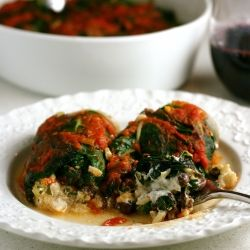 Creamy goat cheese, black beans, and brown rice wrapped in Swiss chard ...
