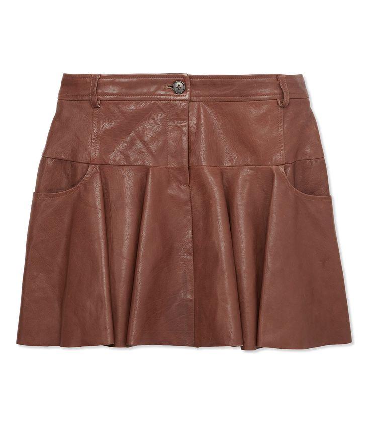 leather tulip skirt