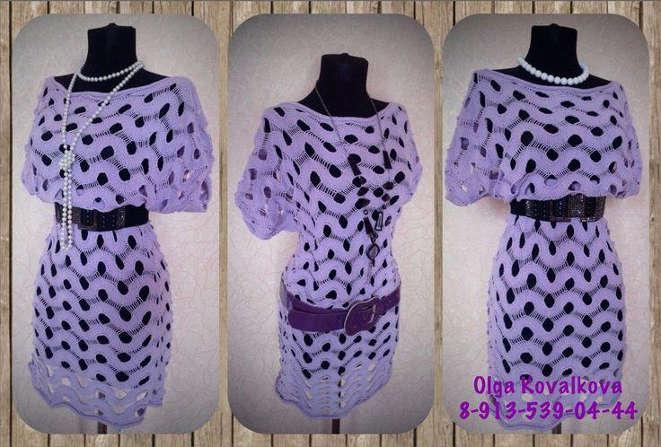 Платье туника спицами