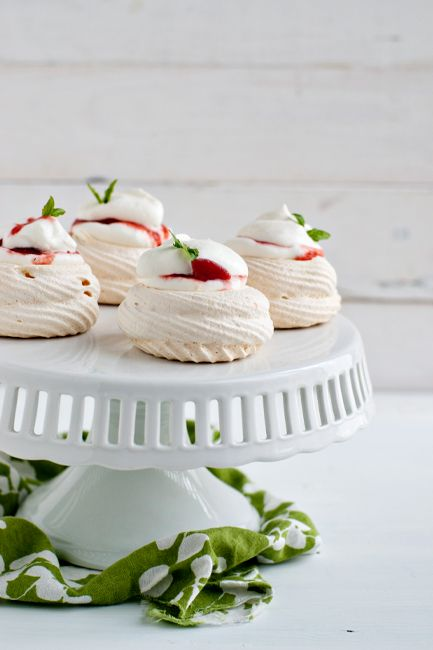 Meringue Nests with Basil Scented Strawberry-Rhubarb Compote - These ...