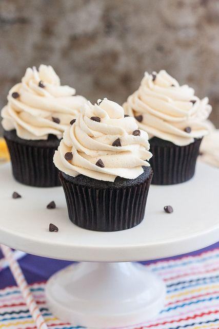 Cookie Dough-Stuffed Dark Chocolate Cupcakes